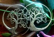 Große Celtic Ohrhänger ~ SCARLETT ~ Ø 4.3 cm - Bohemian Ohrringe - Baum des Lebens  - Silber - Windalf.de