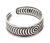 Antik Zehenring ~ CARIZA ~ h: 0.5 cm - Lebens Kreisel - Midi Ring - Silber - Windalf.de