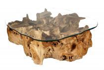 Rustikaler Wohnzimmertisch ~ GOLDANA ~ h: 64 cm - Couchtisch mit Glasplatte - Unikat aus Wurzelholz - Windalf.de