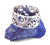 Fairy Ring ~ ALMINA ~ h: 0.9 cm - Lebensspiralen mit Ornamentik - Silber - Windalf.de