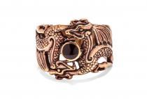 Wikinger Ring ~ FENURAG ~ h: 1.9 cm - 2 Drache mit schwarzem Stein - Bronze - Windalf.de