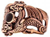 Wikinger Ring ~ FENURAG ~ 17 mm - 2 Drachen mit schwarzem Stein - Bronze - Windalf.de