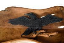 Couchtisch Schwarzer Rabe ~ HUGIN ~ l: 144 cm - mit Raben-Baby - Handarbeit aus Wurzelholz - Windalf.de
