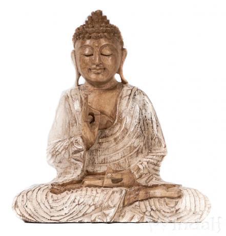 Meditierender Buddha ~ SIDDHARTHA ~ h: 22 cm - Deko Holz Figur - Handarbeit aus Holz - Windalf.de