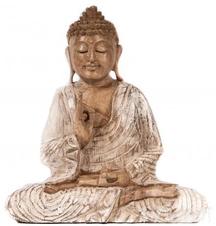Meditierender Happy Buddha ~ SIDDHARTHA ~ 22 cm - Deko Holz Figur Glücksbringer - Handarbeit aus Holz - Windalf.de