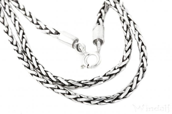 Vintage Halskette ~ FALKONA ~ 50 cm - Asatru Wikinger Kette - Handarbeit aus Silber - Windalf.de