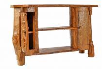 Hobbit Kommode ~ LEO ~ B: 120 cm H: 77 cm - Holzschrank aus Baumstämmen - Unikat - Windalf.de