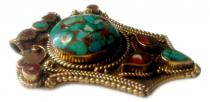 Bohemia Mittelalter Anhänger ~ LOREANNE ~ h: 7.4 cm - Rote & Türkise Stein Elemente - Bronze - Windalf.de
