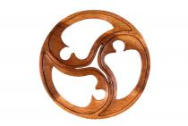 Pagan Wandbild ~ NEDHA ~ Ø 27 - Celtic Triskele Glückssymbol - Handarbeit aus Holz - Windalf.de