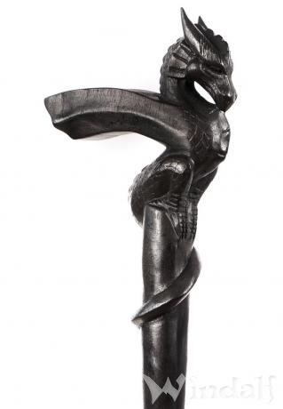 Schwarzer Spazierstab ~ DANUBIS ~ h: 90 cm -  Drachen Gehstock - Handarbeit aus Holz - Windalf.de
