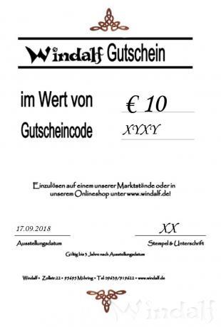 Windalf GESCHENKGUTSCHEIN im Wert von € 10 - Windalf.de