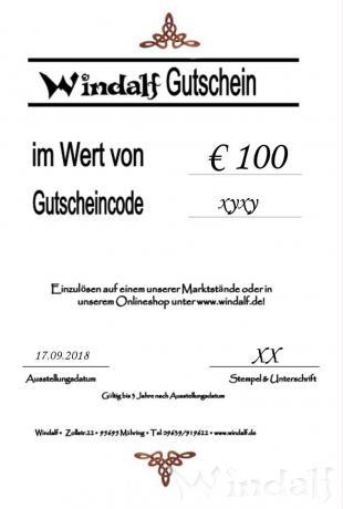 Windalf GESCHENKGUTSCHEIN im Wert von € 100 - Windalf.de