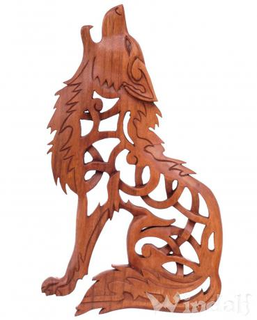 Wolf Wand-Deko ~ FENRIS ~ h: 35 cm - Vikings Holzbild - Handarbeit aus Holz - Windalf.de