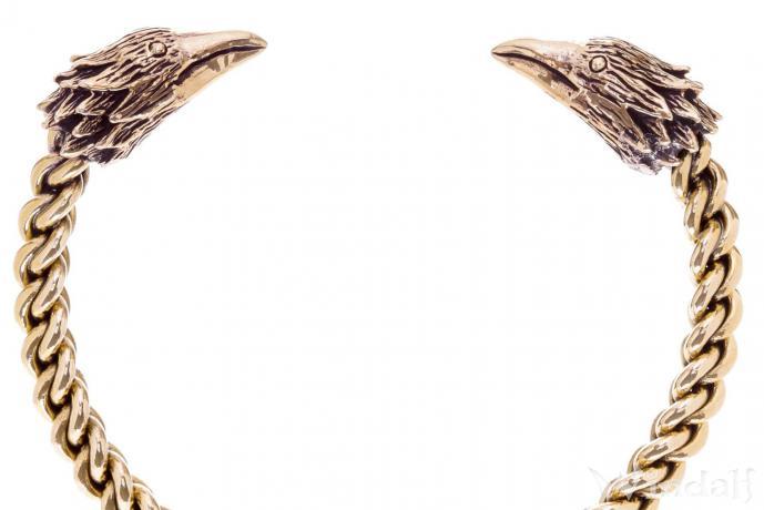 Herren Armreif ~ RAVON ~ Ø 6,5 cm - Vikings Raben - Odin Schmuck - Handarbeit aus Bronze - Windalf.de