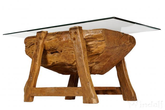 Historischer Couchtisch ~ DAGON ~ H: 49 cm B: 68 cm - Wohnzimmertisch mit Glas & Ablage - Handarbeit aus Teakholz - Windalf.de