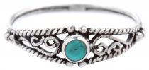 Zarter Boho Ring ~ NAIRNE ~ 0.5 cm - Türkis - Mittelalterliche Ornamentik - Vintage Silber - Windalf.de