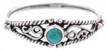 Zarter Boho Ring ~ NAIRNE ~ 5 mm - Türkis - Mittelalterliche Ornamentik - Vintage Silber - Windalf.de
