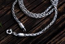 Vintage Halskette ~ FALKONA ~ 60 cm - Asatru Wikinger Zopfkette - Handarbeit aus Silber - Windalf.de