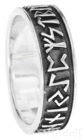 Vikings Runenring ~ RUNA ~ 6 mm - Wikingerschmuck Glücks Ring - Antik Silber - Windalf.de