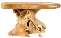 Wurzelholztisch mit Glaselement ~ BODO STOLZFUß ~ 95 cm - Hobbit-Style Couchtisch - Handarbeit aus Wurzelholz - Windalf.de