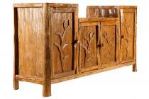 Rustikale Hobbit-Kommode mit 4 Türen ~ BABÛ ~ 178 cm - Natur Anrichte - Holzkommode - Handarbeit aus Teakholz - Windalf.de