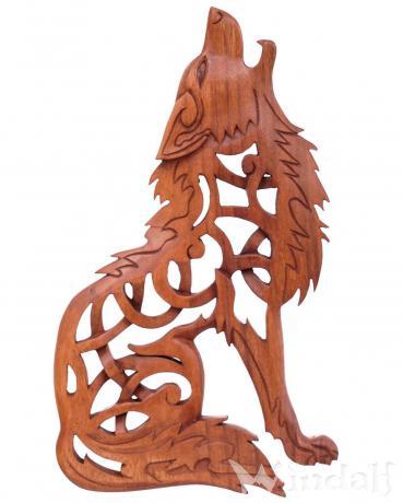 Pagan Wolf Holzbild ~ FENRIS ~ 35 cm - Vikings Wandrelief - Rechts schauend - Handarbeit aus Holz - Windalf.de