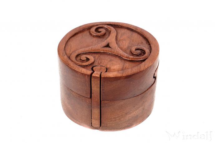 Schmuckdose - Zauberdose ~ TRISKELE ~ Ø 9 cm - Puzzledose - Handarbeit aus Holz - Windalf.de
