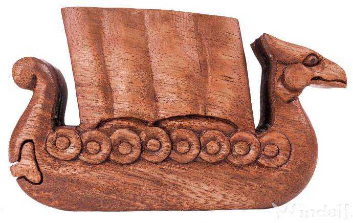 Schmuckkästchen ~ NORTHWIND ~ b: 13.5 cm - Zauberdose - Drachenboot - aus Holz - Windalf.de