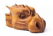Drachenkopf ~ LYNDI ~ B: 17 cm H: 10 cm - Pagan Holz Deko - Handgearbeitet aus Holz - Windalf.de